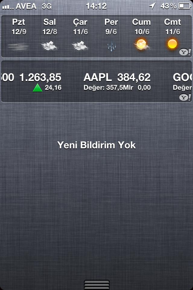 iOS 5'de Notification ekranındaki Stock – Borsa bildirimi nasıl kaldırılır