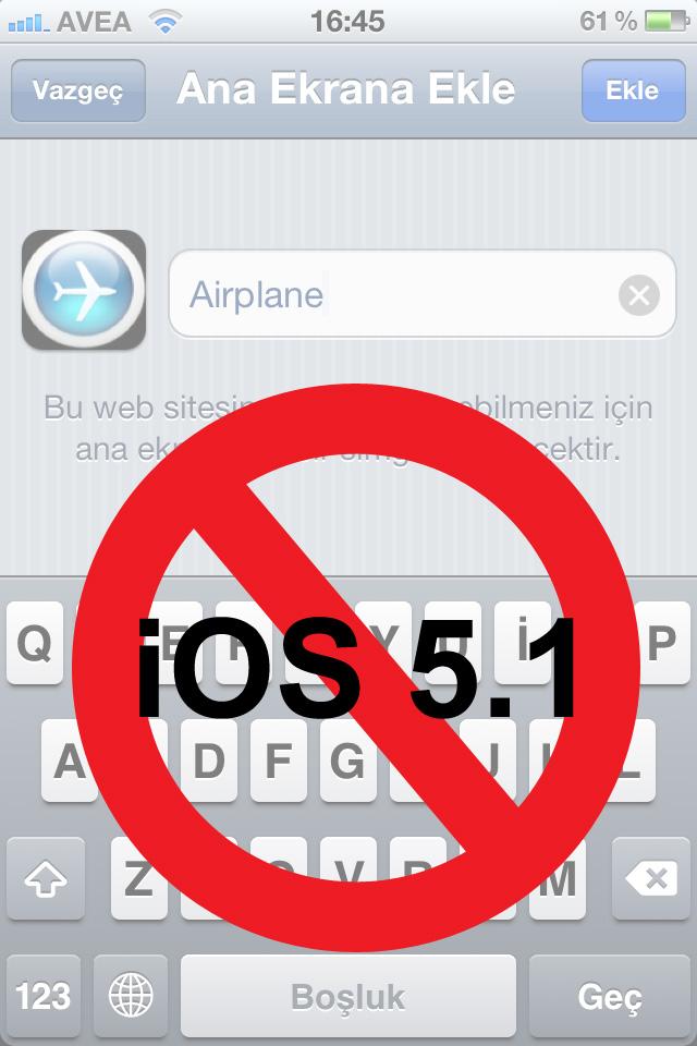 Apple Jailbreak yapmadan kısa yollar oluşturmayı iOS 5.1 ile engelliyor