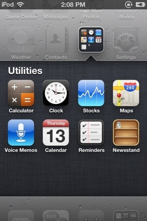 IOS 5'le gelen Newsstand'ı bir klasör içine nasıl koyarım