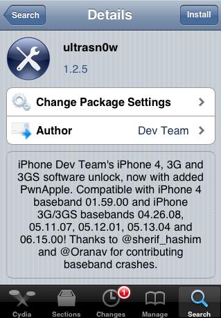 Eski baseband'li iOS 5.0.1 ile çalışan iPhone 4 ve iPhone 3GS için Ultrasn0w 1.2.5 Unlock çıktı