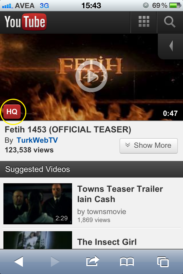 iPhone'da 3G üzerinden Yüksek Kaliteli Youtube videoları nasıl izlenir