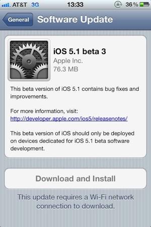 iOS 5.1 Beta 3 Çıktı