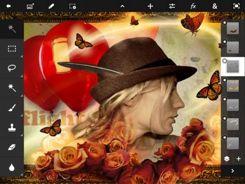 Photoshop bir çok özelliği ve Photoshop Touch adıyla iPad'de