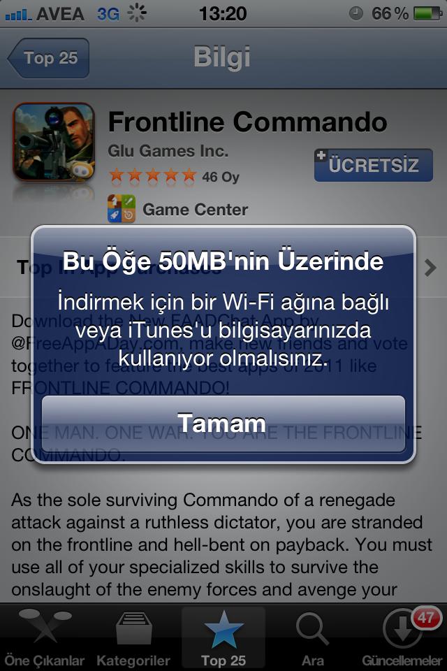 Apple 3G üzerinden uygulama indirebilme limitini 50MB'a çıkarttı