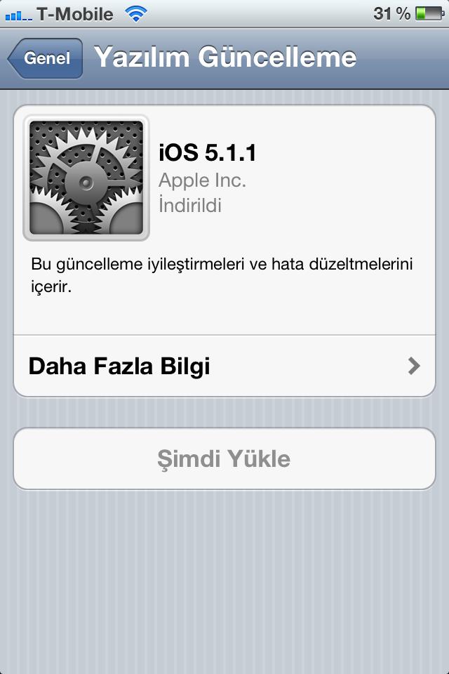 iOS 5.1.1 Çıktı