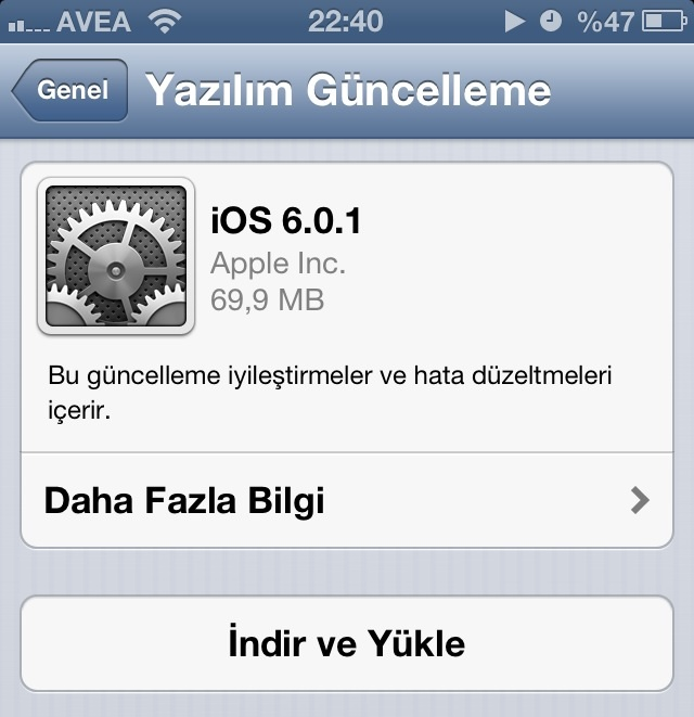 iOS 6.0.1 çıktı!