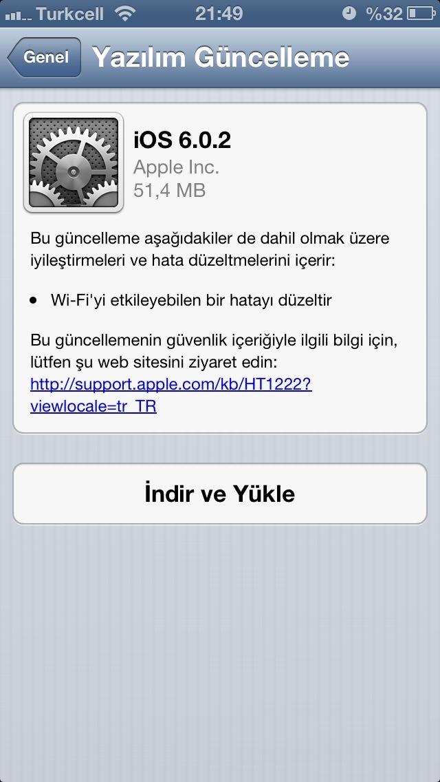 iPhone 5 Wifi sorunu için iOS 6.0.2 güncellemesi çıktı