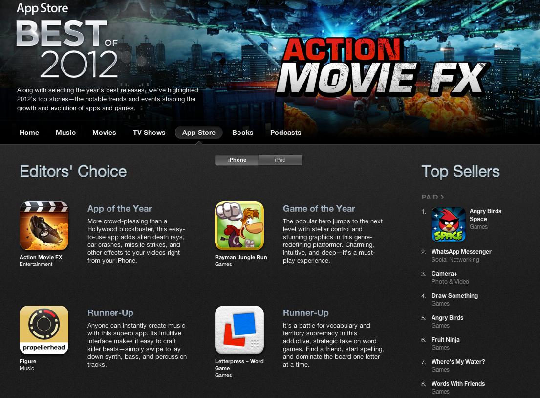Apple 2012 yılının en iyi iPhone ve iPad uygulamalarını seçti