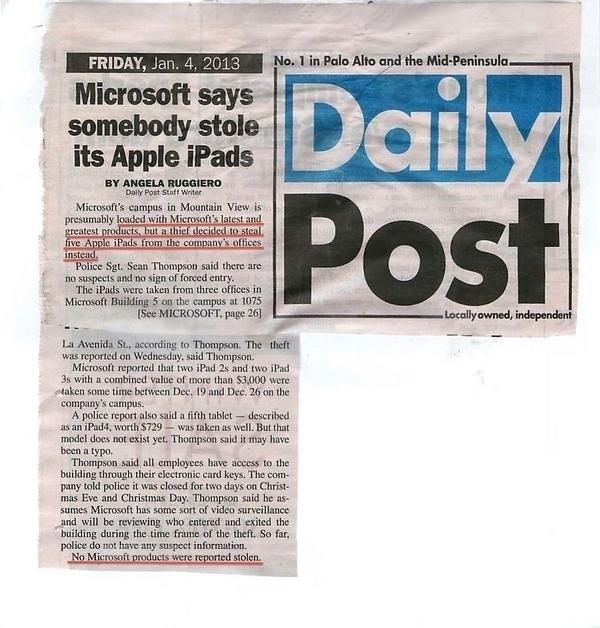 Microsoft ofisi soyuldu, sadece iPad'ler çalındı!