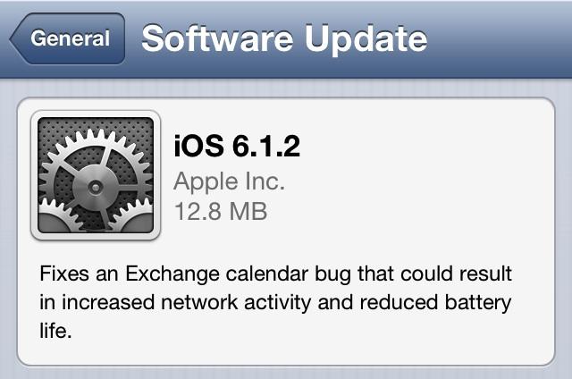 Apple iOS 6.1.2 güncellemesini çıkarttı