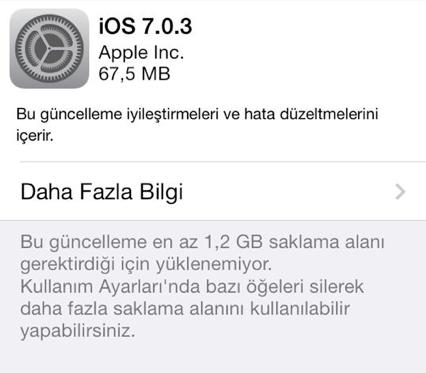 iOS 7.0.3 çıktı, iMessage ve Accelerometer sorunları giderildi!