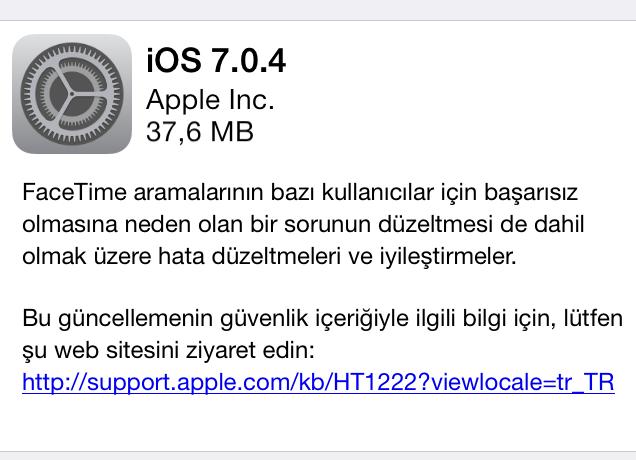 iOS 7.0.4 güncellemesi çıktı!