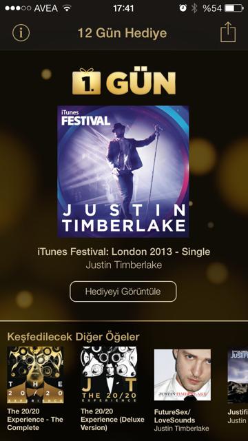 Apple 12 Gün Hediye Uygulaması Justin Timberlake ile başladı!