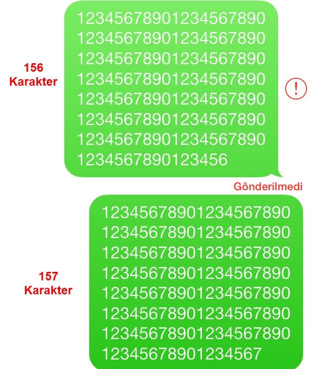 iPhone'da 156 karakter SMS gönderememe sorunu!