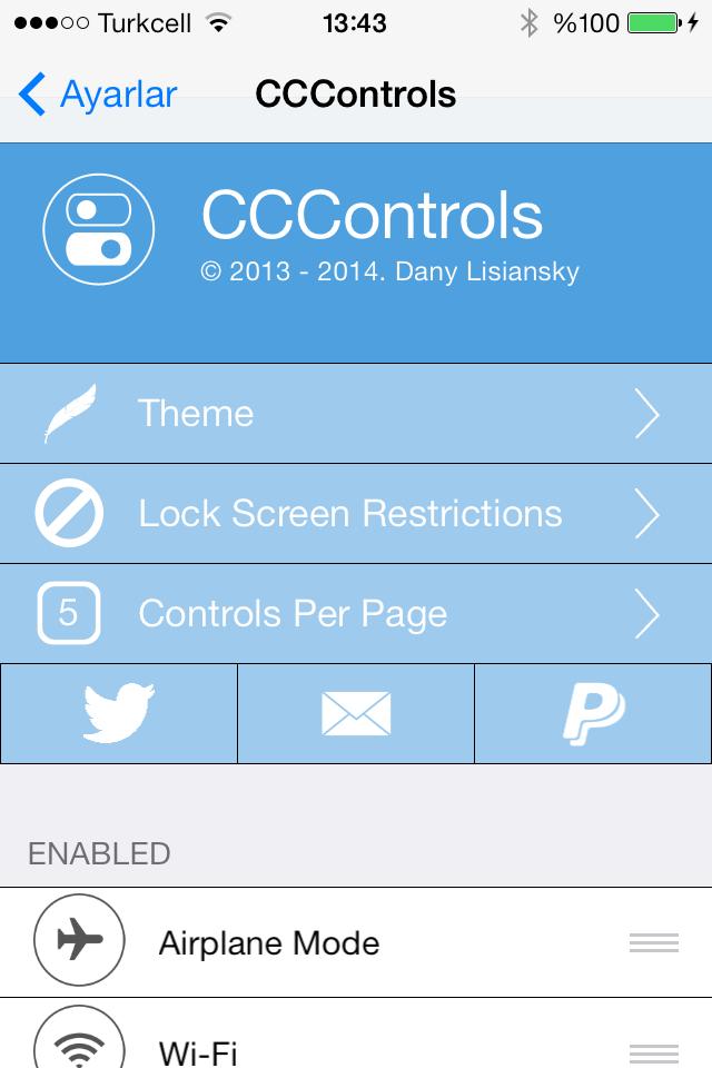 iOS 7 için en iyi Kontrol Merkezi Jailbreak Eklentisi: CCControls