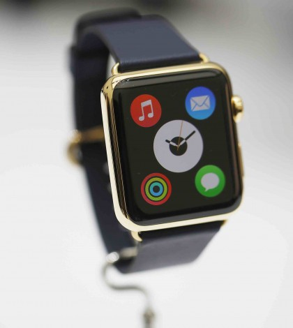 New Apple Watch is pictured during an Apple event at the Flint Center for the Performing Arts in Cupertino