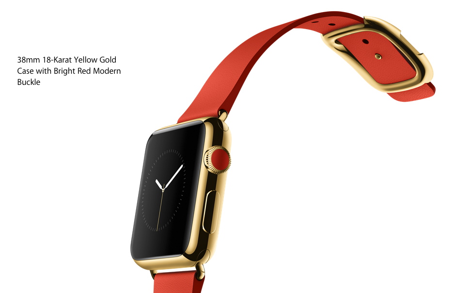 Apple-Watch-38mm-18-Karat-Yellow-Gold-Case-with-Bright-Red Modern Buckle