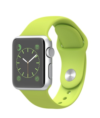 Apple-Watch-38mm-Silver-Aluminum-Case-with-Green-Sport-Band