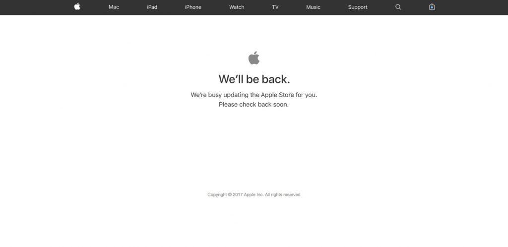 Apple Store, iPhone 8 / iPhone X, Apple Watch ve Apple TV etkinliğinden önce kapandı